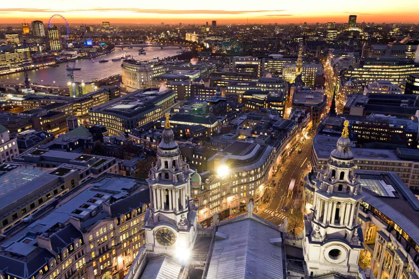 Visitar Londres: vista aérea da cidade