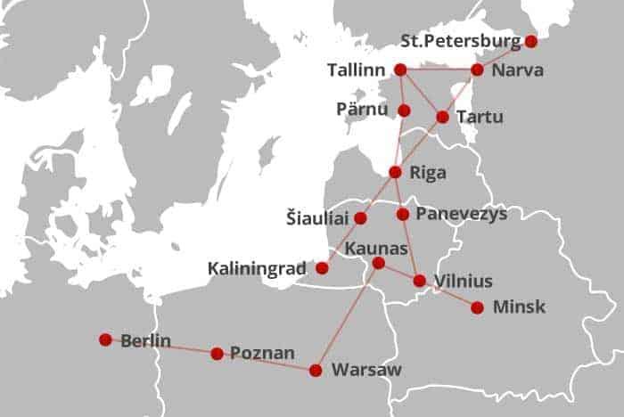 Viajar de autocarro na Europa: mapa de rotas