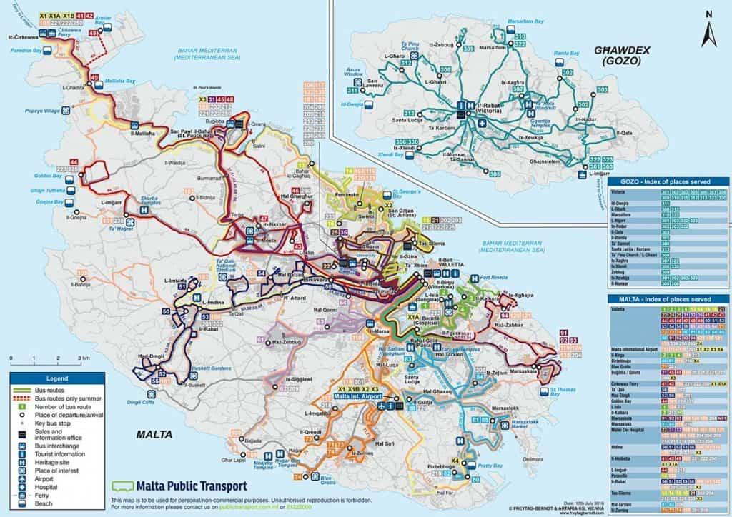 Dica de Malta: mapa de transportes