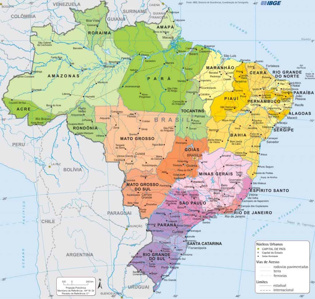 Mapa do Brasil (onde fica o Brasil)