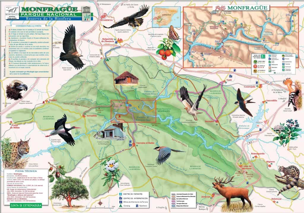 Mapa do Parque Nacional Monfrague