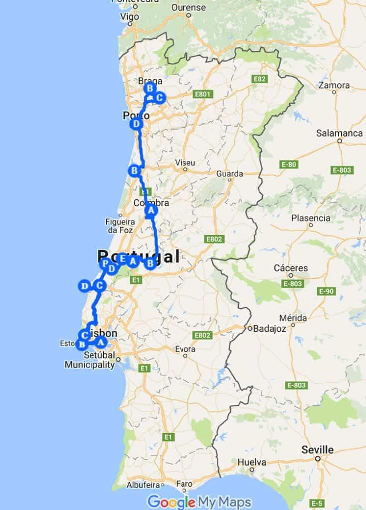 Mapa roteiro Portugal