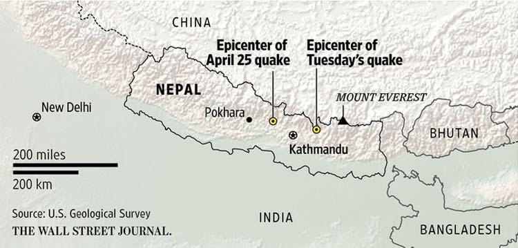 Epicentro dos dois terramotos do Nepal