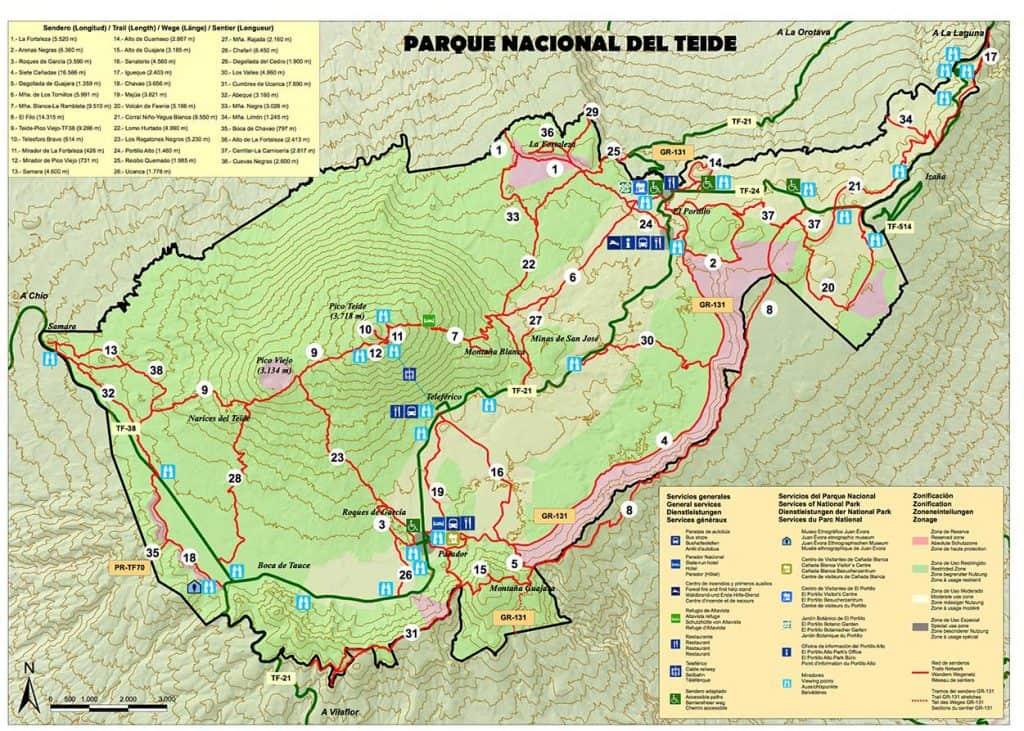 Mapa de trilhos do Parque Nacional do Teide