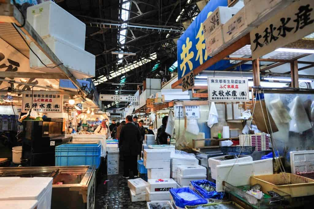 Zona interior do mercado Tsukiji