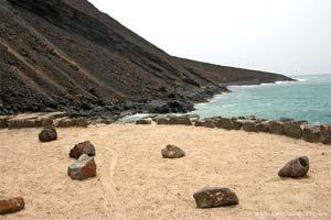 Praia na ilha S. Vicente, arquipélago de Cabo Verde