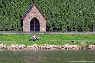 Vinha e rio no vale do Mosela, Alemanha