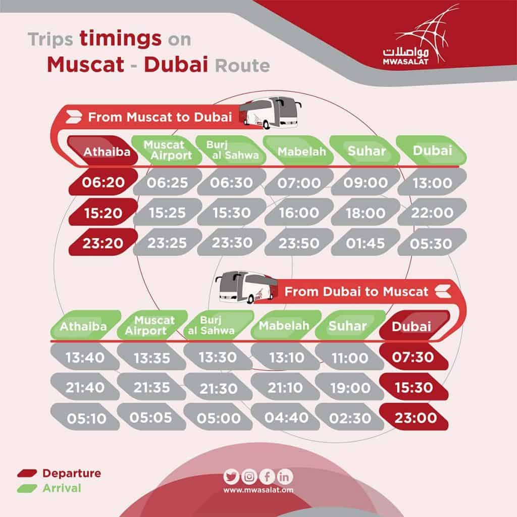 Horário viagem Dubai - Muscat