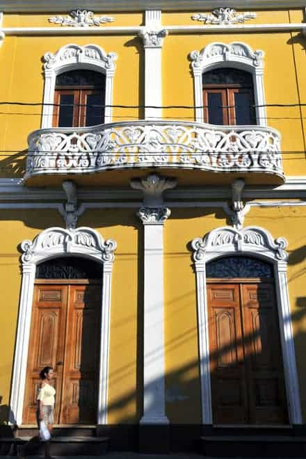 Fachada no centro histórico de Granada, Nicarágua