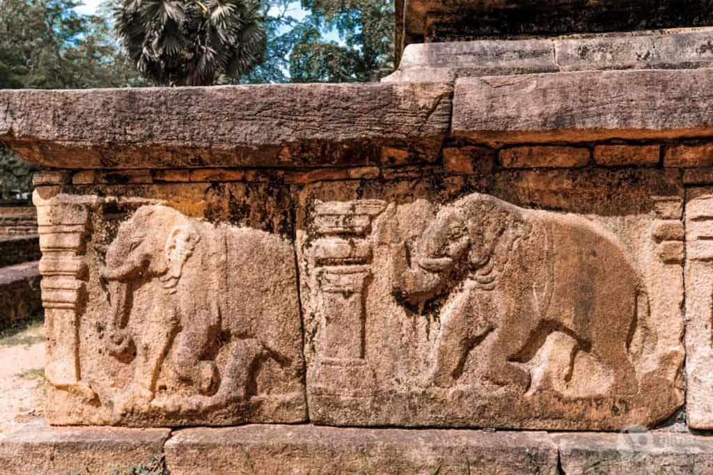 Visitar Polonnaruwa: altos-relevos no Palácio Real