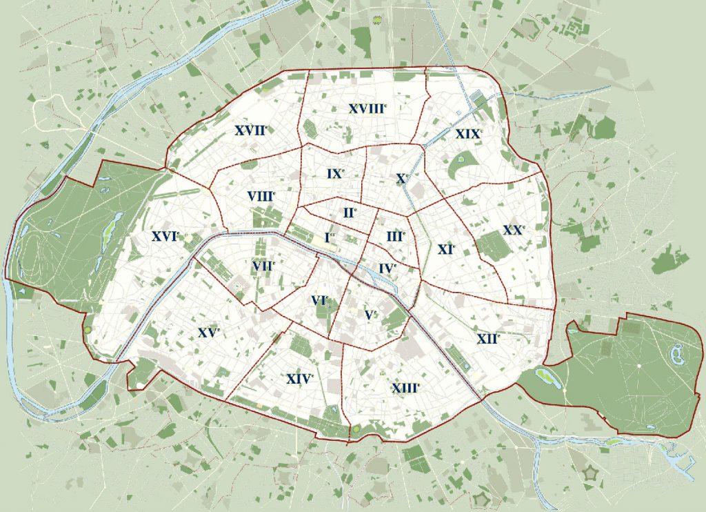 Mapa dos arrondissements de Paris