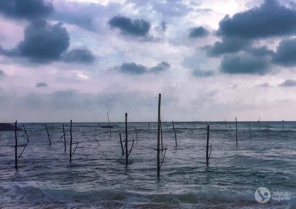 Pescadores sobre estacas no Sri Lanka