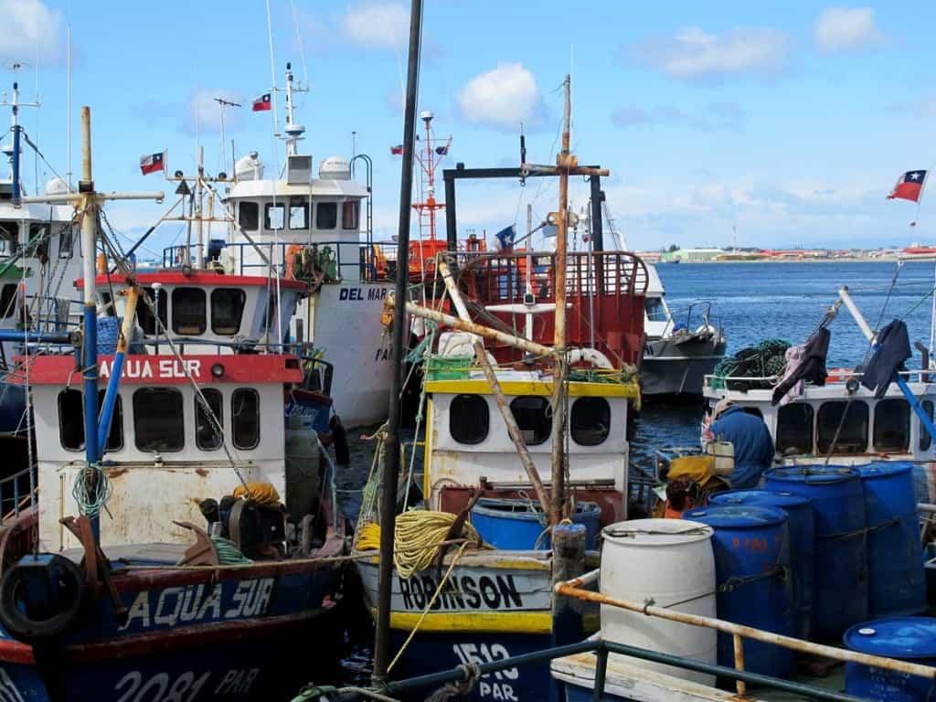 Porto de pesca em Punta Arenas, Chile
