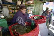 Folhas de coca no Mercado dos Mineiros, Potosí