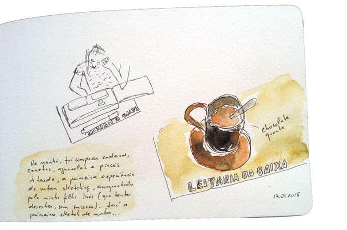Primeira tentativa de fazer um sketch: chocolate quente na Leitaria da Baixa, Porto