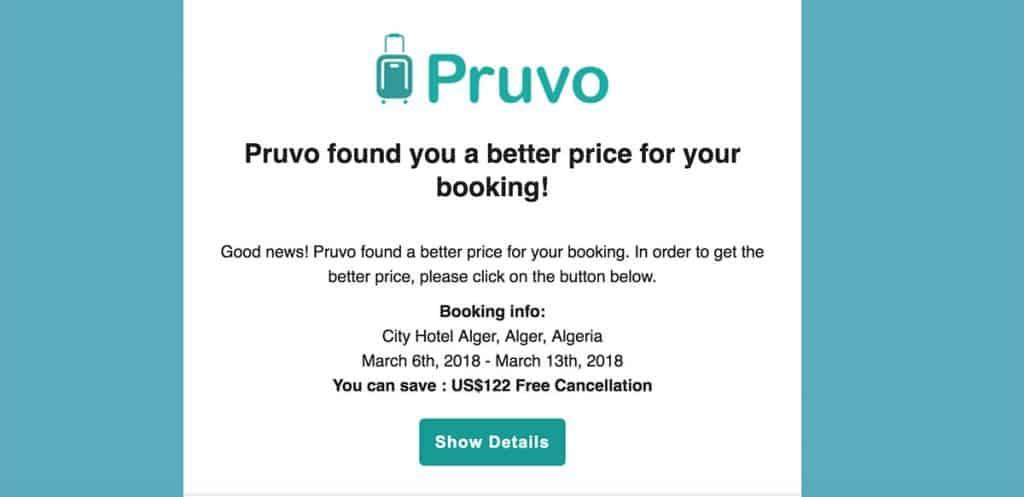 Email da Pruvo: poupar dinheiro em hotéis