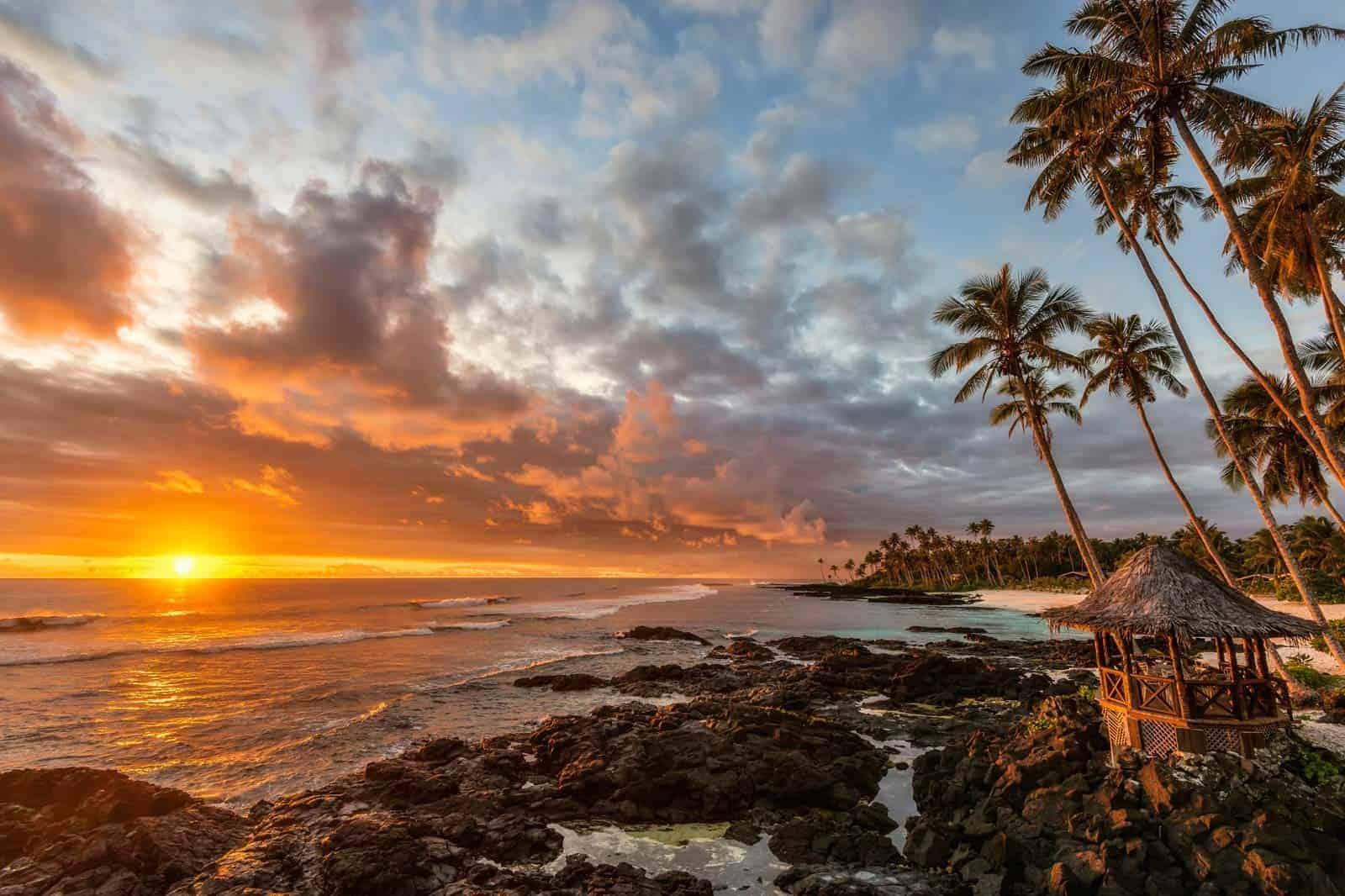 Praia em Samoa