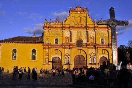 Pôr-do-sol no centro histórico de San Cristobal de las Casas