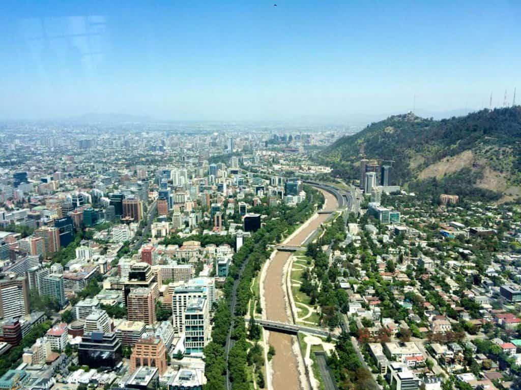 Vista aérea de Santiago, Chile