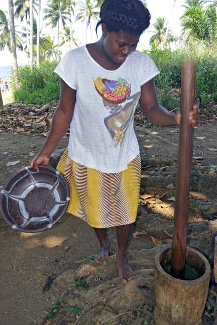 O pilão continua a ser usado em São Tomé e Príncipe