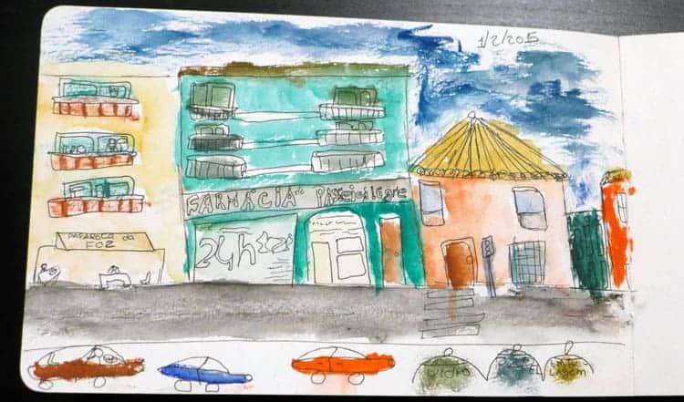 Sketch da rua do Passeio Alegre, feito por uma criança
