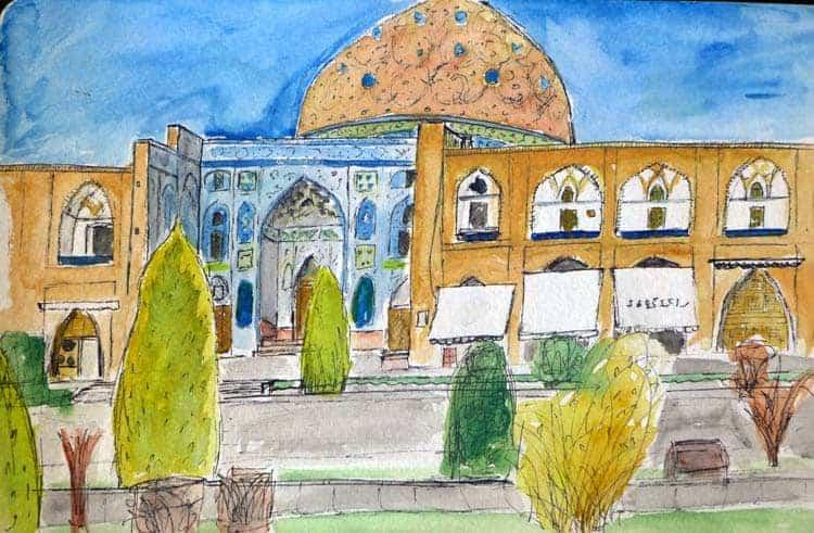 シェイクLotfollahモスク、Esfahanのスケッチ