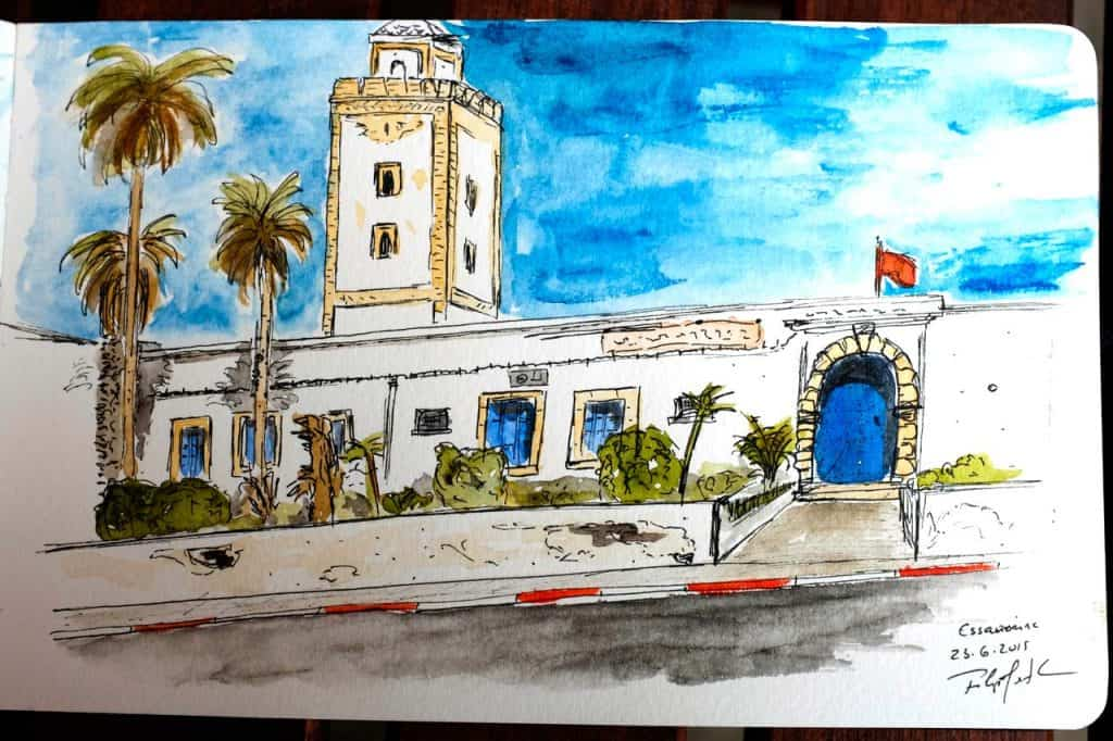 Sketch feito na Avenida Oqba Ibn Nafiaa, Essaouira