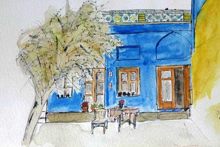 Schets van hotel in Esfahan