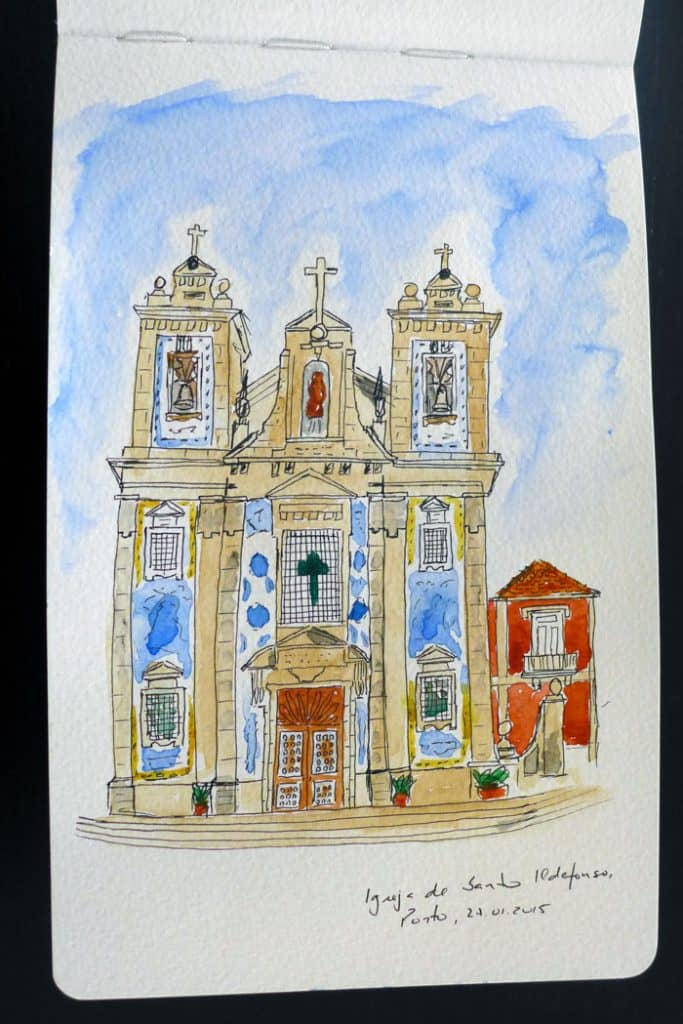 Santo Ildefonso baznīcas skice, Porto