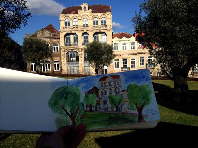Sketch e realidade - jardim das Oliveiras, Porto