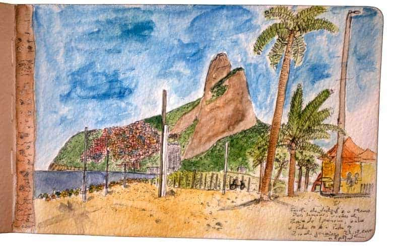 A favela do Vidigal e o Morro dos 2 Irmãos desenhados a partir da Pria de ipanema, Rio de Janeiro