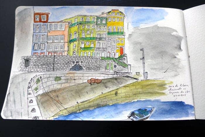 Sketch do casario no Cais da Ribeira, Porto