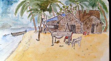 Pogled na Cabanas Ina, gdje sam boravio na malom otoku Naranjo Chico, arhipelagu San Blasa