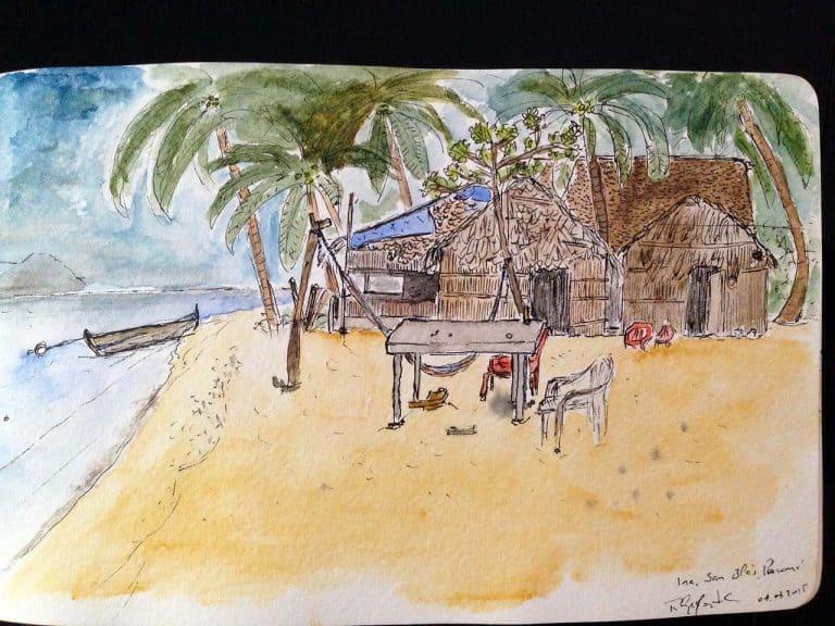 Vista das Cabanas Ina, local onde me alojei na pequena ilha de Naranjo Chico, arquipélago de San Blás