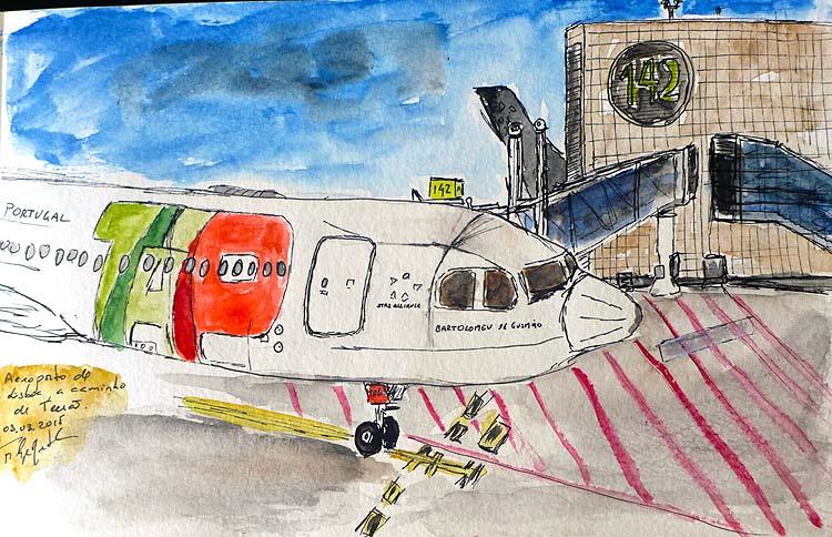 TAP-vliegtuigschets op de luchthaven van Lissabon
