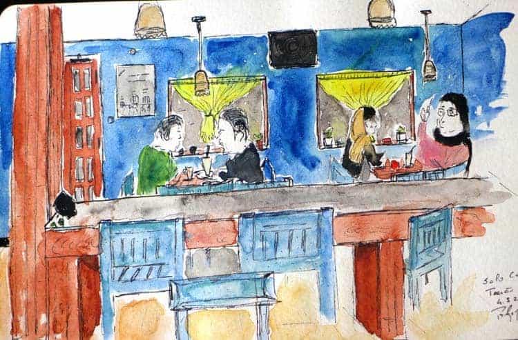 テヘランのソロカフェでスケッチ