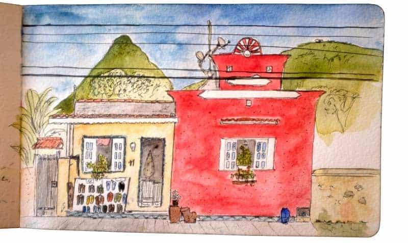 Sketch numa rua de Vila Abraão, em ilha Grande