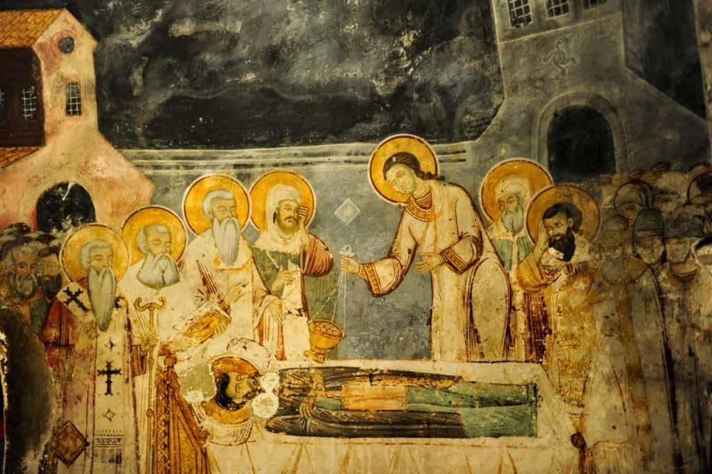 Pormenor dos frescos em St. Naun