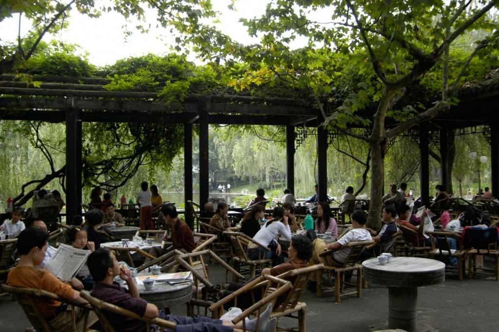 Casa de chá em Chengdu, China