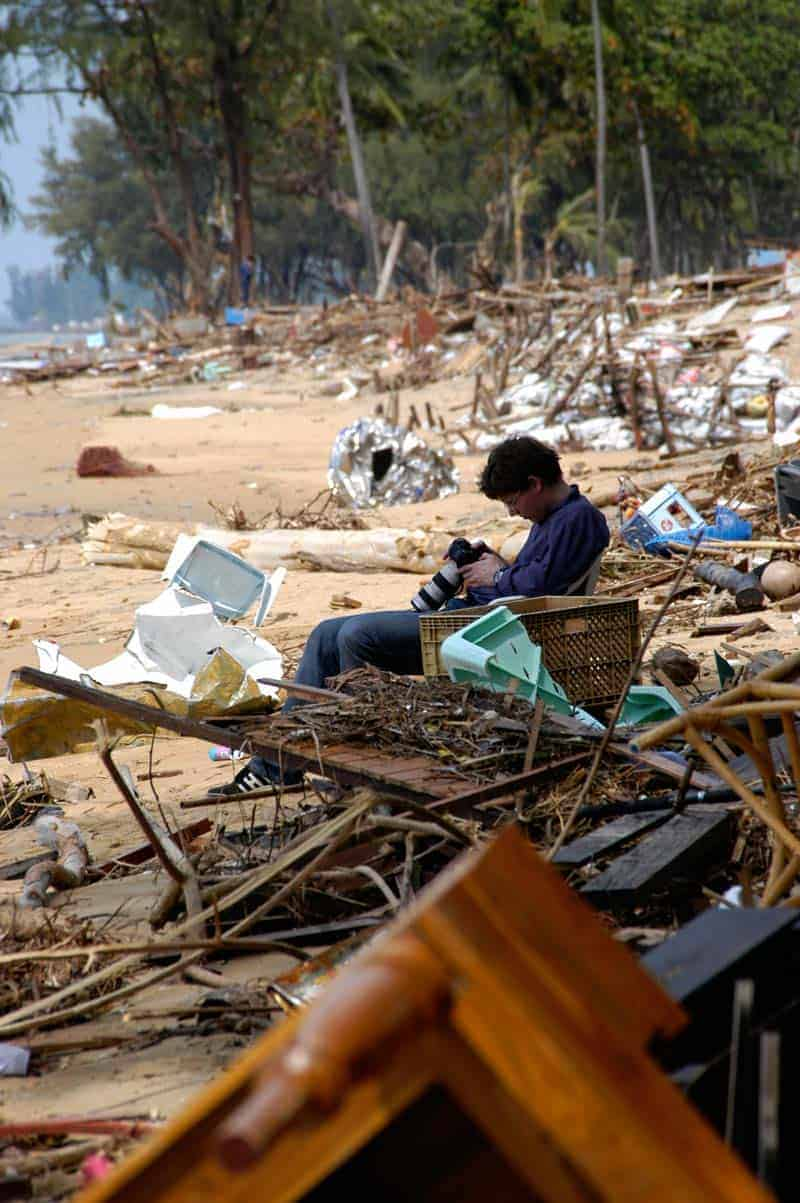 Jornalistas e fotógrafos, Khao Lak, tsunami na Tailândia