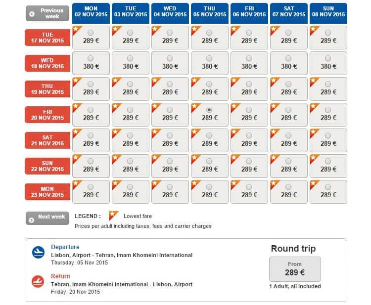 Promoção Turkish Airlines para Teerão