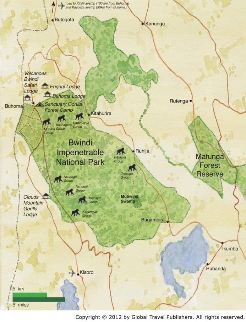 Mapa de Bwindi