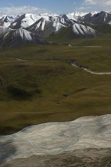 Vista aérea sobre o Cazaquistão e a Quirguízia