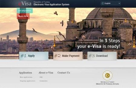 Página de entrada do site oficial e-Visa Turkey